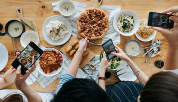 Group of friends taking photos of food for social media