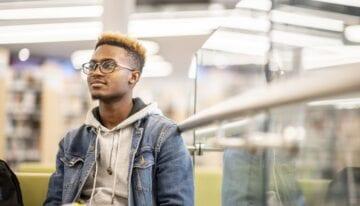 Graduate student sitting in class
