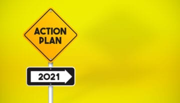 "Sign saying ""action plan for 2021"""