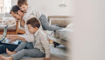 Man with children achieving work-life balance