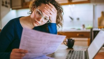 Woman thinking about filing bankruptcy on her student loans
