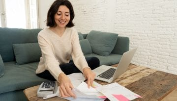 White female working from home