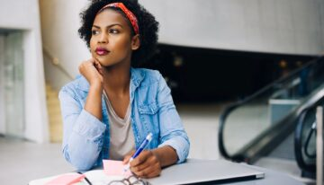 African american woman considering options